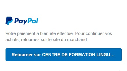 Validation reglement paypal